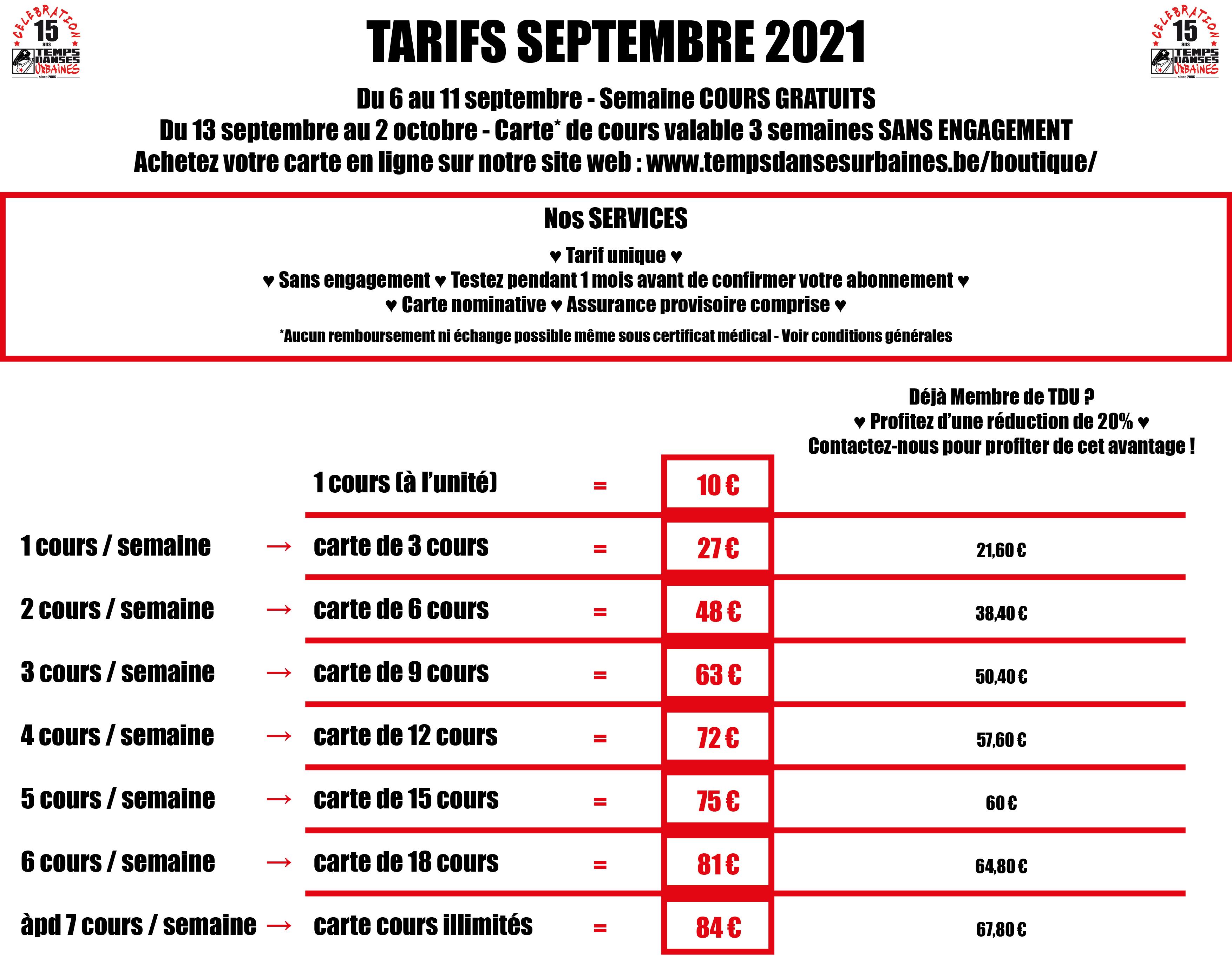 tarifs septembre